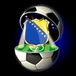 Open soccer ball with crest of BOSNIA HERZEGOVINA