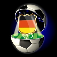 Open soccer ball with crest of GERMANY