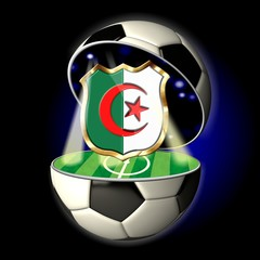 Open soccer ball with crest of ALGERIA