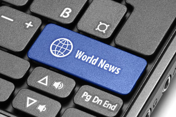 World News. Blue hot key on computer keyboard.