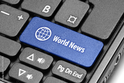 World News. Blue hot key on computer keyboard.