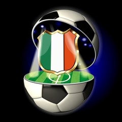 Open soccer ball with crest of ITALY
