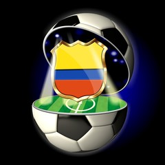 Open soccer ball with crest of COLOMBIA