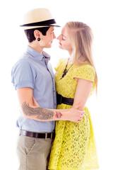 Lesbian couple romancing