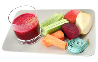 Fresh juice and ingredients for a healthy diet