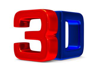 3D symbol on white background. Isolated image