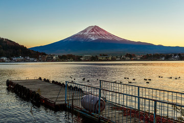 Mt. Fuji in  at Lake Kawaguchiko in Japan