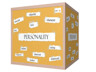 Personality 3D cube Corkboard Word Concept