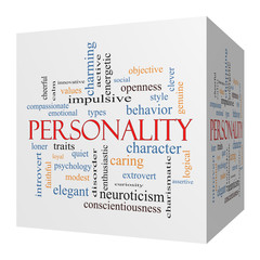Personality 3D cube Word Cloud Concept