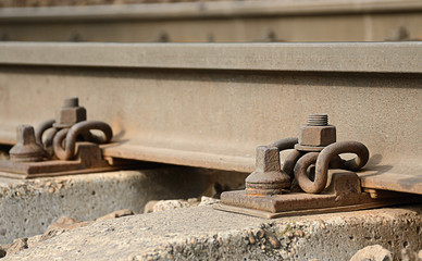 Closeup photo of rusty rail