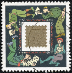 stamp printed in Netherland shows image of the Mail Netherland