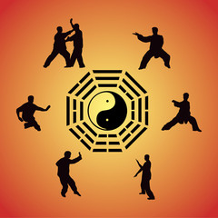 Set of images of people of engaged Kung fu