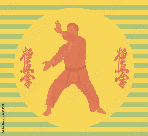 Fototapeta The illustration, the person in a kimono is engaged in karate
