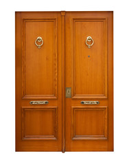 wooden double doors. Isolated over white