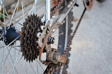 Dirty bicycle of rear sprocket wheel