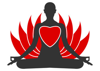Meditation heart icon