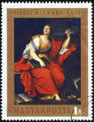 stamp printed by Hungary, shows Clio, by Pierre Mignard