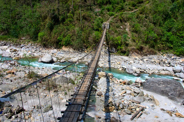 Rope hanging suspension bridge, Nepal