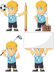 Blonde Rich Boy Customizable Mascot 5