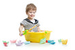 Cute little baby fishing and sitting inside washbowl