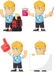 Blonde Rich Boy Customizable Mascot 11