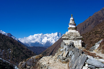 Stupa on the way to Everest Base Camp in Himalayas
