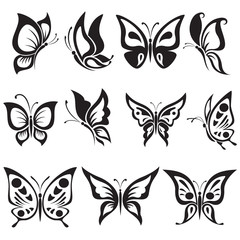 Vector set black and white butterflies
