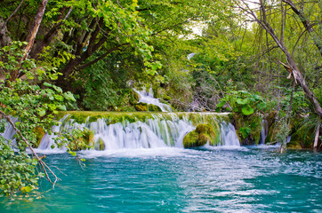 Waterfall in Plitvice Lakes park, Croatia