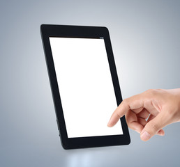 touch screen tablet in hand
