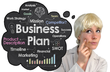 Business Plan with Innovative Blond Woman