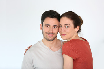 Portrait of loving couple at home, isolated