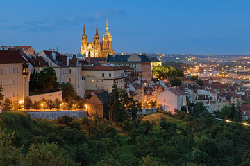 Evening view of Prague Castle with St. Vitus Cathedral