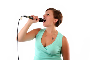 Woman singing her heart out