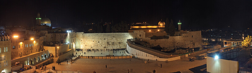 The holiest Jewish site - Western/Wailing wall at night