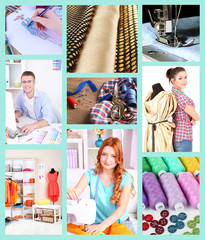 Collage of clothing designer