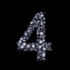 Diamond number isolated on black with clipping path