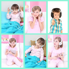 Collage of cute children with headphones