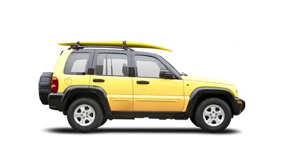 Yellow SUV isolated on white