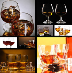 Collage of brandy glasses with ice