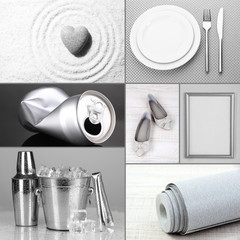 Collage of different objects in shades of gray