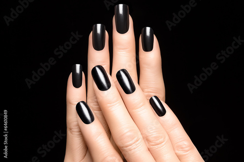 Poster, Tablou Woman hands with black nails