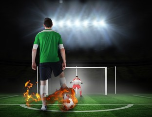 Football player about to take a penalty