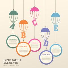 creative parachute infographics design