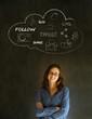 Businesswoman, student or teacher social media