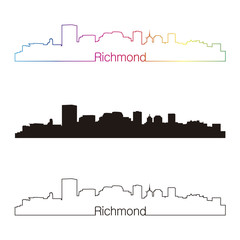 Richmond skyline linear style with rainbow