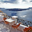 Santorini - view of volcano and cruise ships