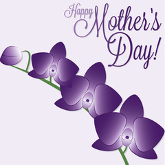 Orchid Mother's Day card in vector format.