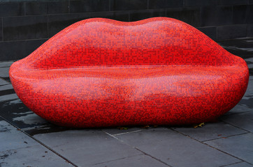 Red Mosaic Lips