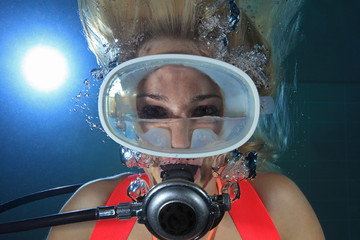 Female scuba diver with water inside mask