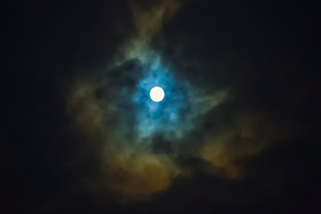 Full moon on dramatic cloudy sky
